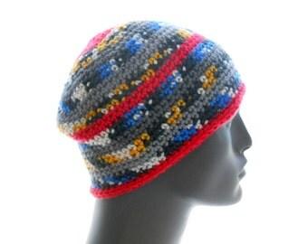 Men's Tribal Pattern Beanie, Handmade Crochet Vegan Hat, Medium to Large Size