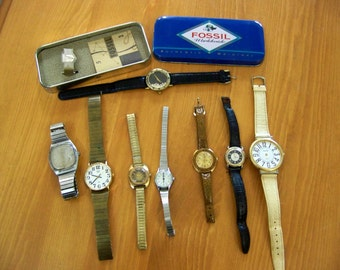 Lot of Eight Wristwatches -- detash, repair, or spare parts