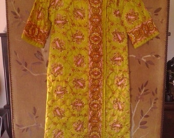 60s psychedelic quilted dressing gown / house coat