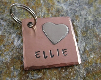Copper Pet ID Tag with Heart - Dog Tag - Pet ID Tags