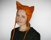 Cat Inspired Animal felted Hat - Felted carnival hat - Winter ski hat - Warm animal hat - Fancy dress hat - Carnival costume hat - Party hat