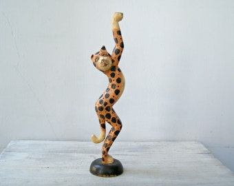 Hand Carved African Tiger Cat wooden Figurine, Tall wood painted Spotted Tiger Figurine, Collectible Tribal wildlife Jungle Nursery decor