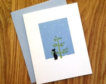Letterpress Holiday Card - Black Cat with Tree