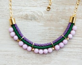 Violet and emerald green colors Agate Necklace by Pardes