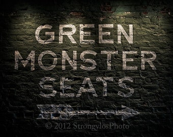20x24 and other sizes on canvas Fenway Park, Green Monster Seats, StrongylosPhoto, Boston Red Sox