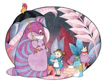 Mei in Wonderland Totoro Alice in Wonderland Mashup Art Print