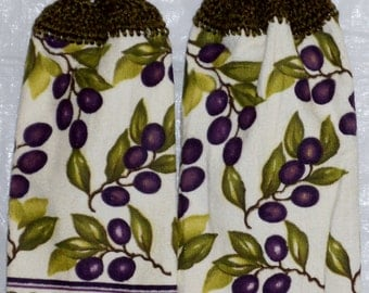 Set of Two Olive Branches Kitchen Towels