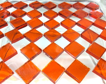"100 1/4"" BRIGHT ORANGE WATERGLASS Stained Glass Mosaic Tiny Tiles Transparent T2"