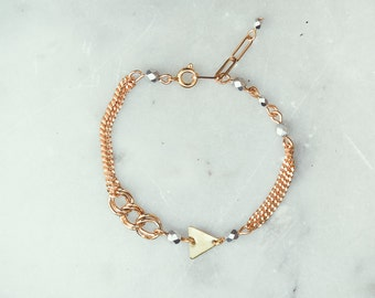 chain bracelet with triangle, silver and gold bracelet, triangle jewelry, chain bracelet, contemporary bracelet