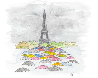 Eiffel Tower In the Rain Watercolor