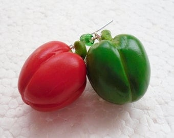 Red And Green Pepper Earrings. Polymer Clay