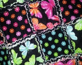 Butterflies and Flowers Rag Quilt