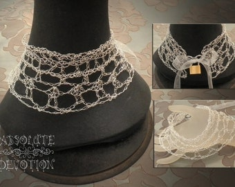 Silver Web One: One of a Kind Luxury 999 Fine Silver Neck Piece, Secret Collar  - Absolute Devotion