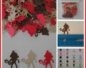 Sock Monkey Paper Confetti - 100 pieces - Brown, Tan and Red or Your Choice Of Colors