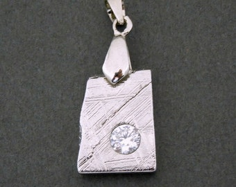 Petite Meteorite Pendant with Rhinestone Accent with Sterling Silver Bail - Authentic Meteorite from Outer Space - WOW - (EX7-11)