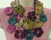 Crochet Colorful Flower Scarf