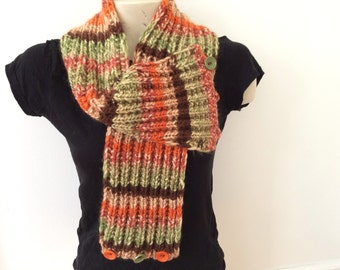 Knit Chunky CoWL Scarf With Adjustable Buttons, Usa Seller