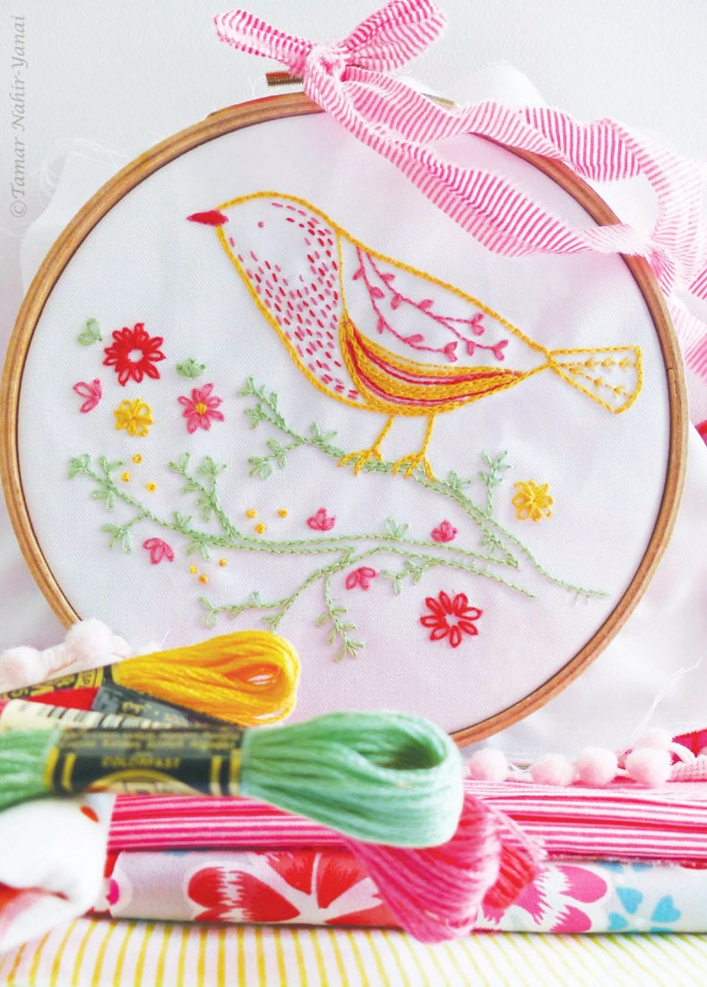 Embroidery Pattern Pdf, Modern Hand Embroidery Pattern  Yellow Bird   Embroidery Designs For Girls, Instant Download, Printable Nursery Art