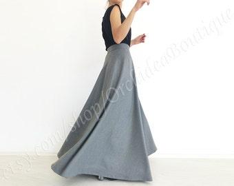 PALOMA grey wool maxi skirt asymmetric detail high waist circle formal winter fall fashion