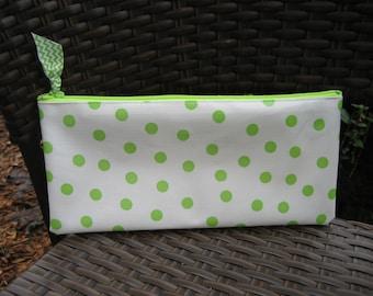 Zippered Oil Cloth Pouch--Green Dot--Purse Organizer--pencil pouch teacher gift