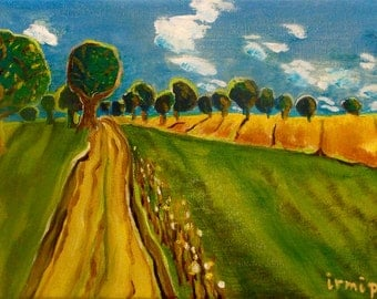 Behind my village Original acrylic Landscape Painting Bavaria