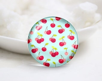 10mm 12mm 14mm 16mm 18mm 20mm 25mm 30mm Handmade Round Photo Glass Cabochon-Cherry (P1419)