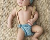 Baby Boy Crochet Hat and Diaper in Seafoam Blue and Light Brown, Baby Crochet Hat, Diaper Cover and Bow Tie