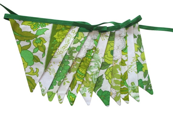 Vintage Retro 'Eco - Green Floral' Flag Bunting.  HANDMADE . Shop or Bedroom Wall hanging, Garden Party Decoration, Market Stall Banner