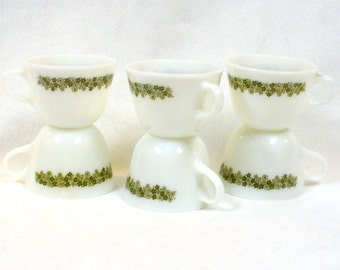 6 Spring Blossom Coffee Cups Pyrex Corning Ware Vintage White Green Floral Retro 1970 Crazy Daisy