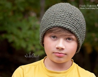 Crochet PATTERN - Easy Crochet Hat Pattern - Crochet Patterns for Men - Crochet Beanie Pattern - Includes 7 Sizes Newborn to Adult - PDF 199