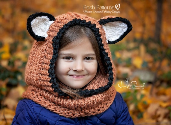 Knitting Pattern Fox Hooded Cowl Hooded Cowl by PoshPatterns