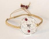 Garnet and Dragonfly Dreamcatcher Bracelet, Native American Inspired, boho bracelet, native bracelet