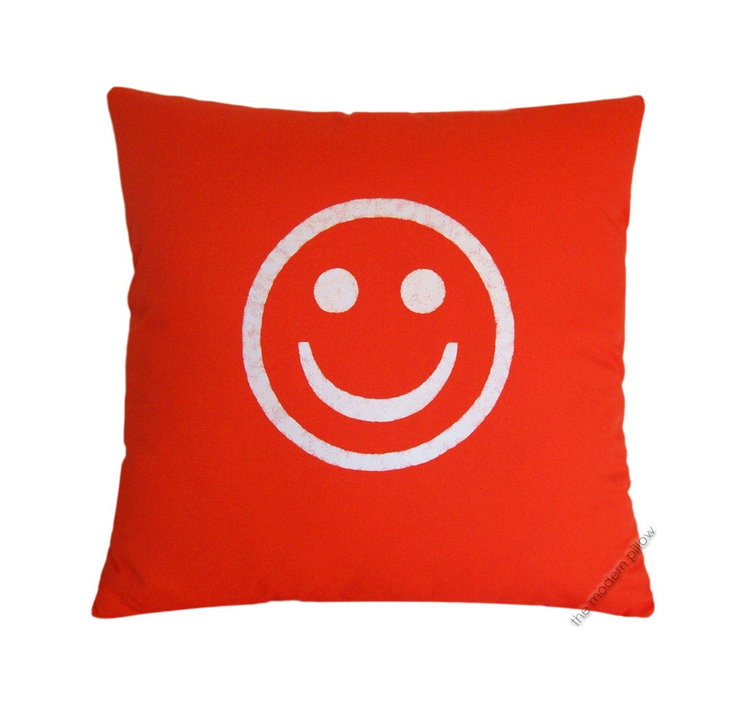 Orange And White Decorative Pillows : Orange and White Smiley Decorative Throw Pillow Cover / Pillow