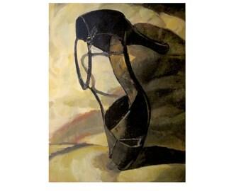 "Large oil painting, Large shoe painting, Big painting, titled, ""a heel,"" Large painting of shoe, Large painting of stiletto, Impressionism."