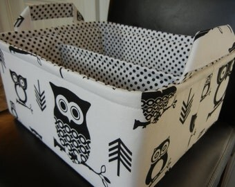 """LG Diaper Caddy 12"""" x 10"""" x 6""""(choose COLORS)""""One Divider -Baby Gift-Fabric Storage Organizer-""""Black Owl on White"""""""