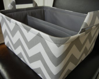 "LG Diaper Caddy 12"" x 10"" x 6""(choose COLORS)""One Divider -Baby Gift-Fabric Storage Organizer-Chevron-""Grey Zigzag"""