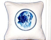 "shabby chic, feed sack, french country, Golden retriever graphic with gingham welting 14"" x 14"" pillow sham."