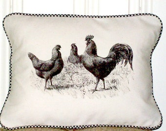 "shabby chic, feed sack, french country, vintage rooster and hen  graphic with gingham welting 12"" x 16"" pillow sham."