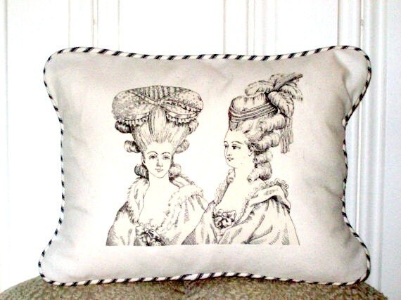 "shabby chic, feed sack, french country, vintage French Ladies graphic with ticking stripe welting 12"" x 16"" pillow sham."