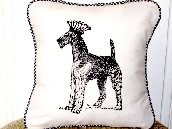 "shabby chic, feed sack, french country, vintage Airedale with gingham  welting 14"" x 14"" pillow sham."
