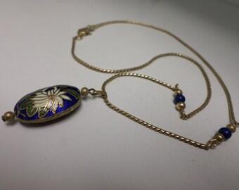 "Vintage Avon Necklace Cloisonee Blue 9"" Gold Beads 70s"