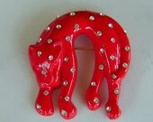 Vintage Costume Jewelry - Red Leopard with Rhinstones Brooch