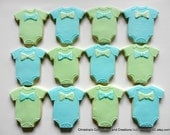 Bow Tie Romper or Baby Diaper Shirt Cookie Favors for baby showers (#2304)