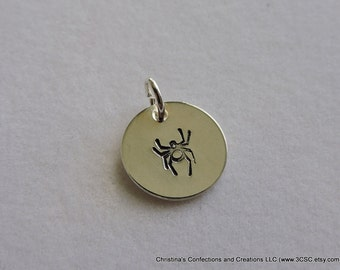Hand stamped Spider  or Arachnid on Charm or Necklace (#1607)