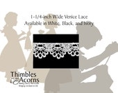 30% off while supplies last!  5 yards 1-1/4 inch - Available in White, Black, or Ivory Venice Lace - Style D