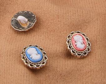 New Exclusive Item - 1/2 inch plastic Cameos in Coral, Blue, or Black - 6 per package