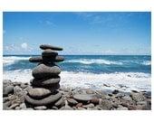 Hawaii photography - beach photograph - Hawaii Big Island Pololu Valley photograph - black sand beach photograph - rock tower beach art