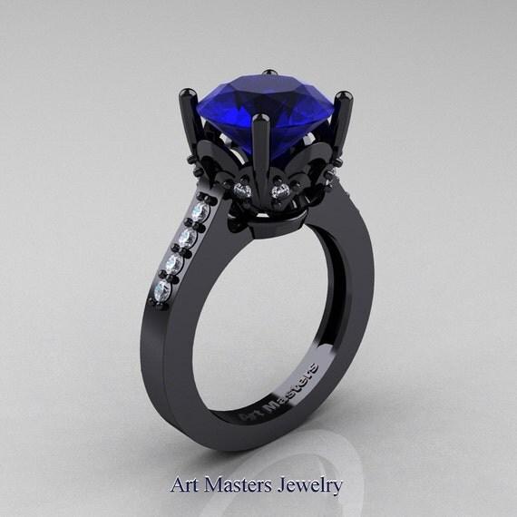 Exclusive Classic 14K Black Gold 3.0 Carat Blue Sapphire Diamond Solitaire Wedding Ring R301-14BGDBS