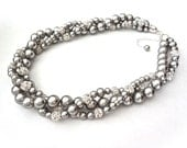 Gray chunky pearl necklace ~ 3 strands ~ Twisted pearl necklace ~ Bib necklace ~ Brides necklace ~ Swarovski pearls and crystals ~ Gift