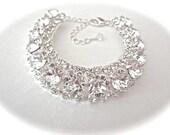 Swarovski crystal bracelet ~ Statement bracelet ~ Cuff ~ Sparkling ~ Halo ~ Clear crystals ~ Brides bracelet ~ STUNNING - Wedding ~ SOPHIA